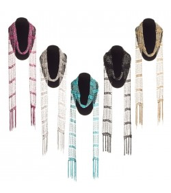 10 Pcs Assorted Color Beaded Scarf