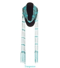 Turquoise Beaded Scarf With Plastic Beads